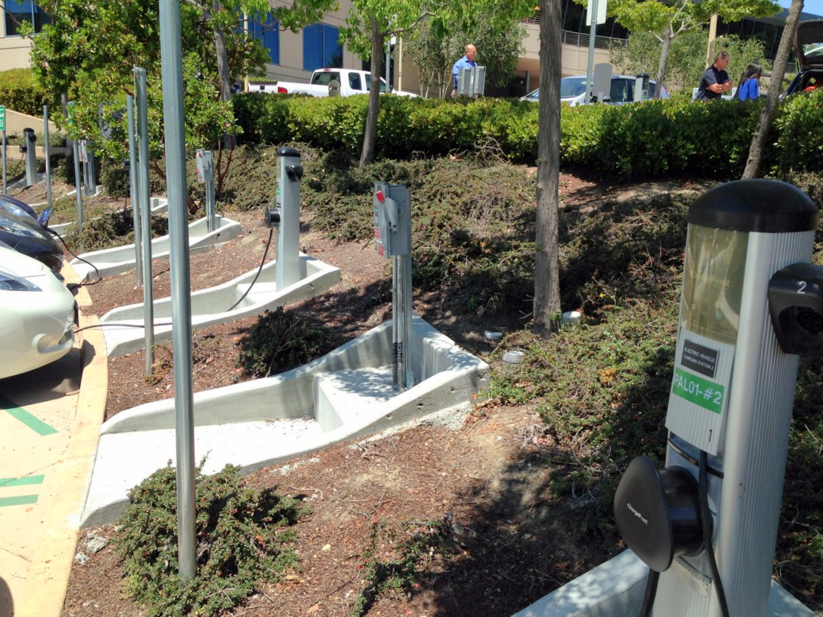 Electric Vehicle Charging Stations at SAP HQ in Palo Alto, CA.