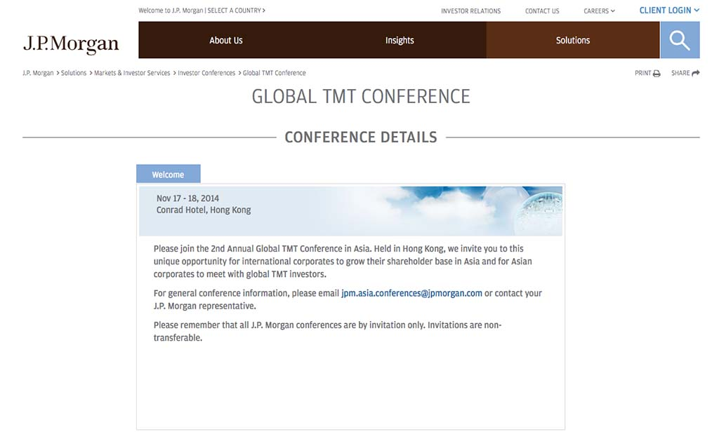 Keynote Speaker, J P  Morgan 2nd Annual Technology, Media and