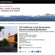 The California Local Governance Summer Institute at Stanford