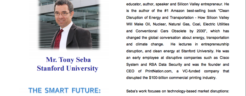 "Petroleum Institute of Thailand (PTIT), 30th Anniversary special keynote: ""Clean Disruption of Energy and Transportation"